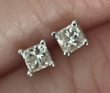 $499 14K White Gold .20 1/5 CT Princess Cut Solitaire Diamond Stud Earrings