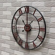 47cm Antique Distressed Skeleton Country Style Metal Oversize Wall Clock -uk