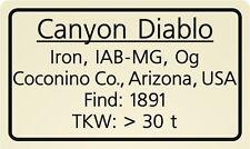 Meteorite label Canyon Diablo