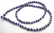 Ancien original beau collier perles de verre bleues fermoir bijou vintage 195