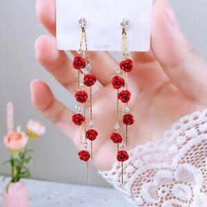 2021 Fashion Red Flower Long Tassel Stud Earrings Dangle Women Weddings Jewelry