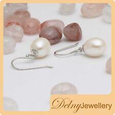 Brand New Silver Freshwater Pearl Drop Hook Earrings 9-9.5mm Gift Souvenir Delny
