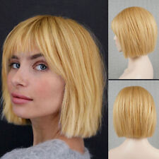 100 Human Hair Bob Wig with Bangs Blonde Full Wig Cap for White Women