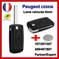 Coque Clé Pour Peugeot 107 207 307 308 SW Partner CE0536 Lame 8mm Rainurée +Pile