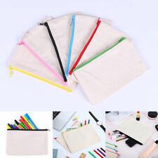 Canvas Student Pencil Case Pen Bag Coin Purse Bags Cosmetic Makeup Bag Pouch