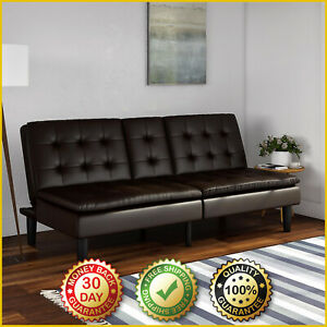 MEMORY FOAM SOFA BED Couch Pillow Top Convertible Futon Leather Cup Holders NEW