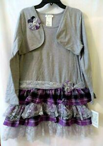 Bonnie Jean 1Pc Dress Shrug Purp Gray Plus Sz 12.5-14.516.5-18.5 or 20.5  #10245