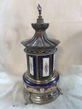 Vintage Porcelain Reuge Carousel Cigarette Lipstick Dispenser Swiss Music Box
