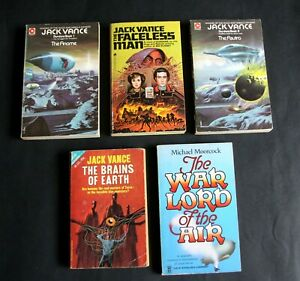 Five Sci Fi Paperbacks by J.Vance 4. & M. Moorcock 1.Very Good.- Tight Bound.