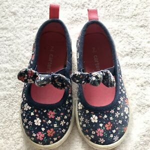 Carters toddler girls shoes sneakers flat flowers pink navy