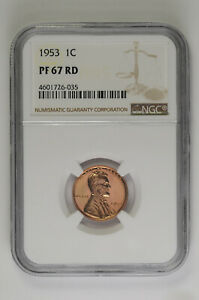1953 Proof 1C Lincoln Wheat Cent NGC PF 67 RD