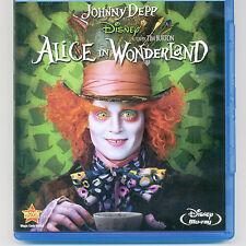 Disney Alice In Wonderland PG Tim Burton movie Blu-ray + Rewards, NO DVD, J Depp