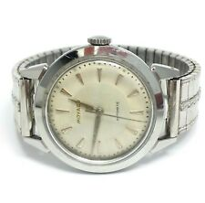 Vintage Mens Movodo Stainless Steel Watch Automatic Working Elastic Band 1950s