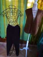 lot=femme  42    MARRON CHOCOLaT  pantalon +gilet tricoté offert