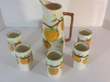 Vintage Orange Juice Ceramic PITCHER SET   & 5 Cups Made In Japan