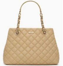 KATE SPADE AUTH $498 Women's Beige Quilted Leather Gold Coast Maryanne Large Bag