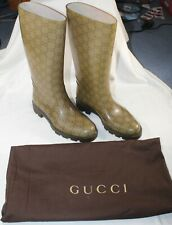 Gucci GG Women's Brown Rubber Rain Boots Guccissima Pattern 36 / 6 with dustbag