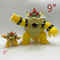 "Super Mario Bros. Bowser Koopa Plastic PVC Figure Doll Toy Collectible 9"" & 4"""