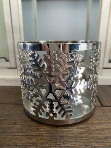 Bath and Body Works Snowflake Winter 3 Wick Candle Holder Sleeve Silver