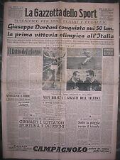 LA GAZZETTA DELLO SPORT 22/7/1952  Olimpiadi di Helsinki  Dordoni medaglia d'oro