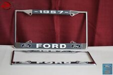 1957 Ford Car Pick Up Truck Front Rear License Plate Holder Chrome Frames New