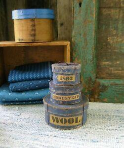 Set of 3 Small Papier Mache Boxes Reproduction Civil War Blue Calico Wool Labels
