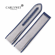 20mm Blue Rubber Grey Nylon Watch Band Strap For OMEGA  Planet Ocean 45 42mm