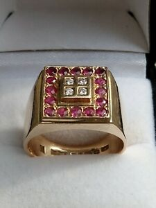 Magnificent 9ct Gold Diamond and Ruby Mens Statement Ring 13g FULLY HALLMARKED