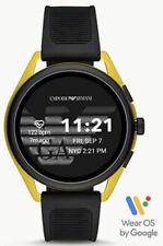 NEW! EMPORIO ARMANI Yellow Aluminum Black Rubber Gen 5 Smartwatch ART5022 SEALED