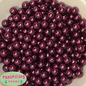 10mm Burgundy Pearl Finish Acrylic Bubblegum Beads Lot 50 pc.Chunky