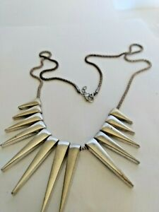 """Graduated Spike Statement necklace Silver tone  26"""" snake chain"""