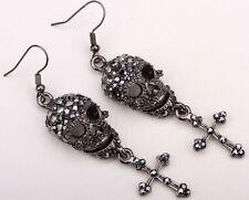 Skull cross dangle earrings fashion biker bling jewelry gift sfor women EM35 gun