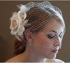 Champagne/Ivory Flower Feather Fascinator Wedding Bridal Birdcage Face Veil