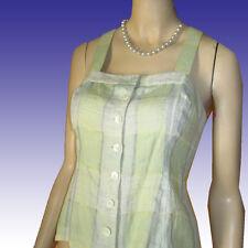New $130 MAGASCHONI Linen Halter Sun Top Sz 8 Very Pale Green Blue MAG Blouse