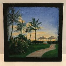 "4x4 Original Acrylic Painting ""Big Island Cove Day Makai"" Hawaii Sunset Black"
