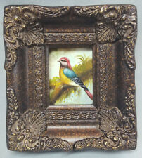 Framed miniature oil painting of beautiful bird on tree branch in ornate frame