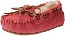 New Minnetonka Hot Pink Pile Lined Suede Leather Kids/Toddler Moccasin #4815