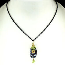 NATURAL BAROQUE BLACK PEARL PERIDOT RUBY BLACK SPINEL NECKLACE GOLD/ 925 SILVER