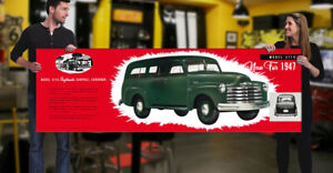 1947 Large Chevrolet Dealer Garage Banner Hot Rod Truck Pickup Chevy Suburban