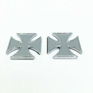 Pair Cross Billet Custom Panel/Fuel Gas Tank/Cover Badge/Emblem /Chop/Cafe Racer