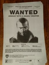 Rockstar Games Grand Theft Auto IV Niko Bellic Wanted Poster (17x11) *RARE*