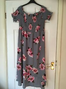 Ladies AX Paris Grey Floral Summer Dress Size 16