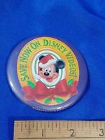 Mickey Mouse Xmas Save Now on Disney Videos PINBACK VIDEO VTG VHS PROMO STORE