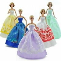 5 Pcs Random Handmade Wedding Party Clothes Dresses Grows Outfit for Barbie Doll