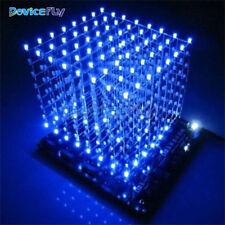 3D Light Squared 8x8x8 3mm White LED DIY Cube Blue Ray LED Kit M114 New