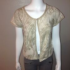 Chicos Beaded Foil Cardigan Size 1 = M/8 Petite Womens Sweater Short Sleeve Top