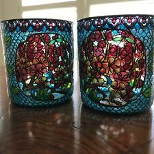 Rare Pair Votive Candle Holders Stained Glass Mosaic Style Reticulated Flowers