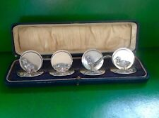 Tubé Set 4 Game Bird English Sterling Silver antique Place Menu Holders
