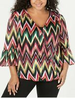 Women's Plus Inc International Concepts NWT Pretty Chevron Striped Top Size 2X