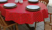 140x250cm OVAL PVC/VINYL OILCLOTH TABLECLOTH - RED & WHITE POLKA DOT